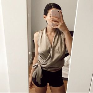 H&M Gold Silky Blouse NWT